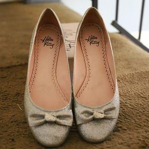 Silver Glitter Hello Kittie Flats